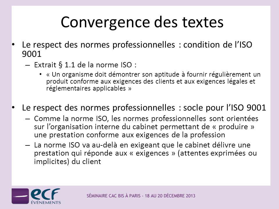 Convergence des textes Le respect des normes professionnelles : condition de lISO 9001 – Extrait § 1.1 de la norme ISO : « Un organisme doit démontrer