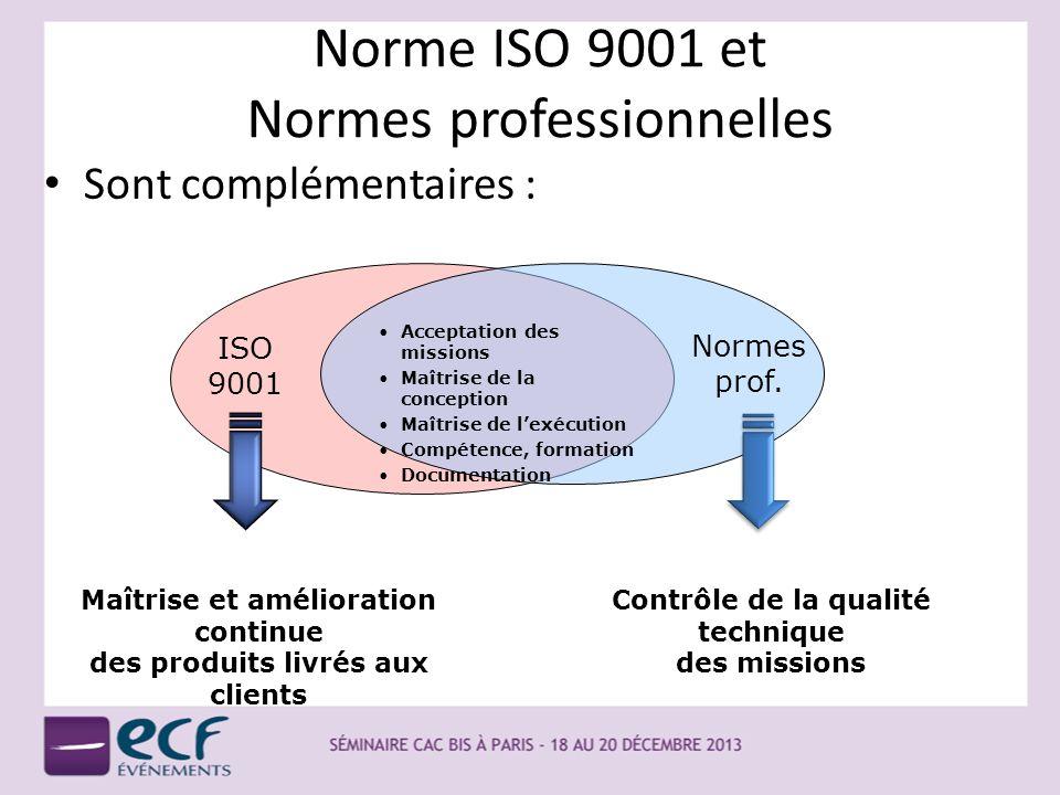 Norme ISO 9001 et Normes professionnelles Sont complémentaires : Acceptation des missions Maîtrise de la conception Maîtrise de lexécution Compétence,
