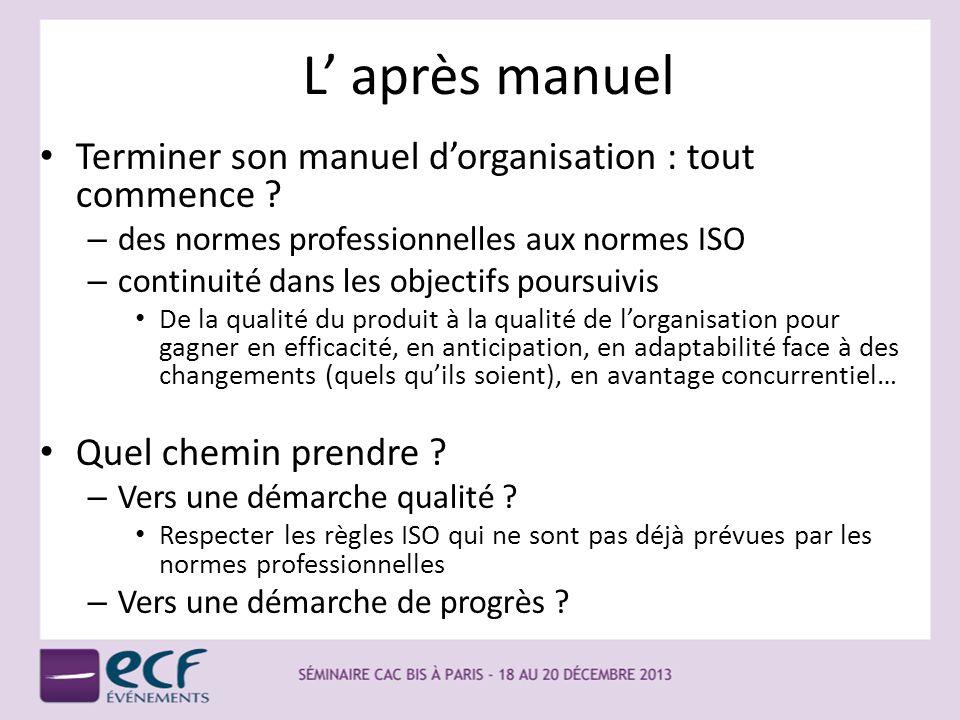 L après manuel Terminer son manuel dorganisation : tout commence ? – des normes professionnelles aux normes ISO – continuité dans les objectifs poursu
