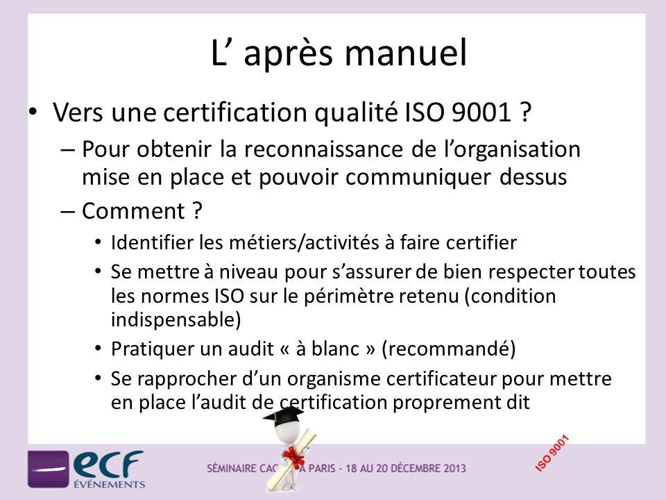 L après manuel Vers une certification qualité ISO 9001 ? – Pour obtenir la reconnaissance de lorganisation mise en place et pouvoir communiquer dessus