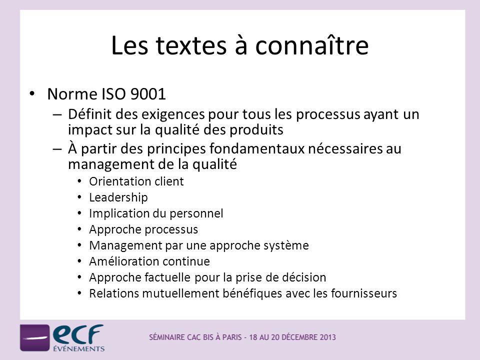 Les textes à connaître Norme ISO 9001 – Définit des exigences pour tous les processus ayant un impact sur la qualité des produits – À partir des princ