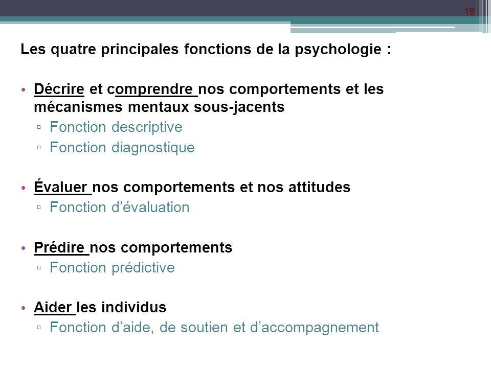 19 Les quatre principales fonctions de la psychologie : Décrire et comprendre nos comportements et les mécanismes mentaux sous-jacents Fonction descri