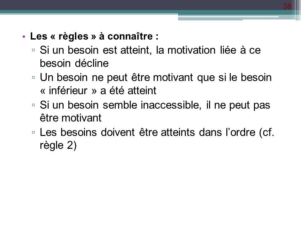 38 Les « règles » à connaître : Si un besoin est atteint, la motivation liée à ce besoin décline Un besoin ne peut être motivant que si le besoin « in