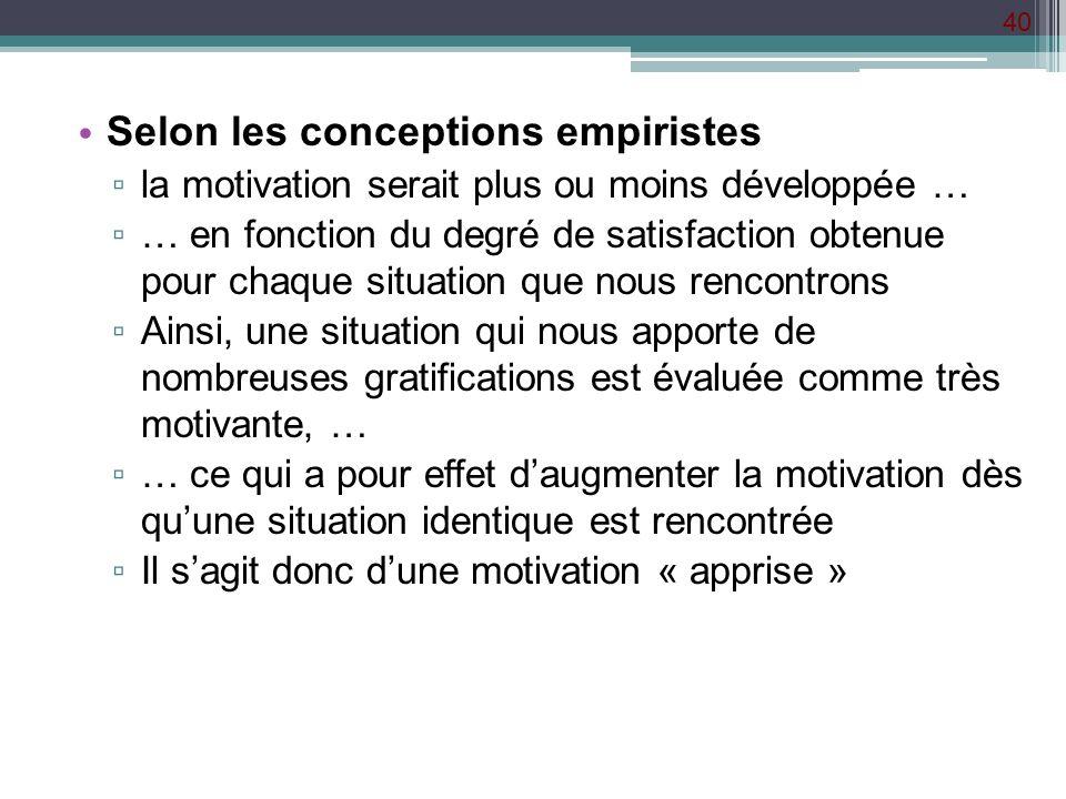 40 Selon les conceptions empiristes la motivation serait plus ou moins développée … … en fonction du degré de satisfaction obtenue pour chaque situati