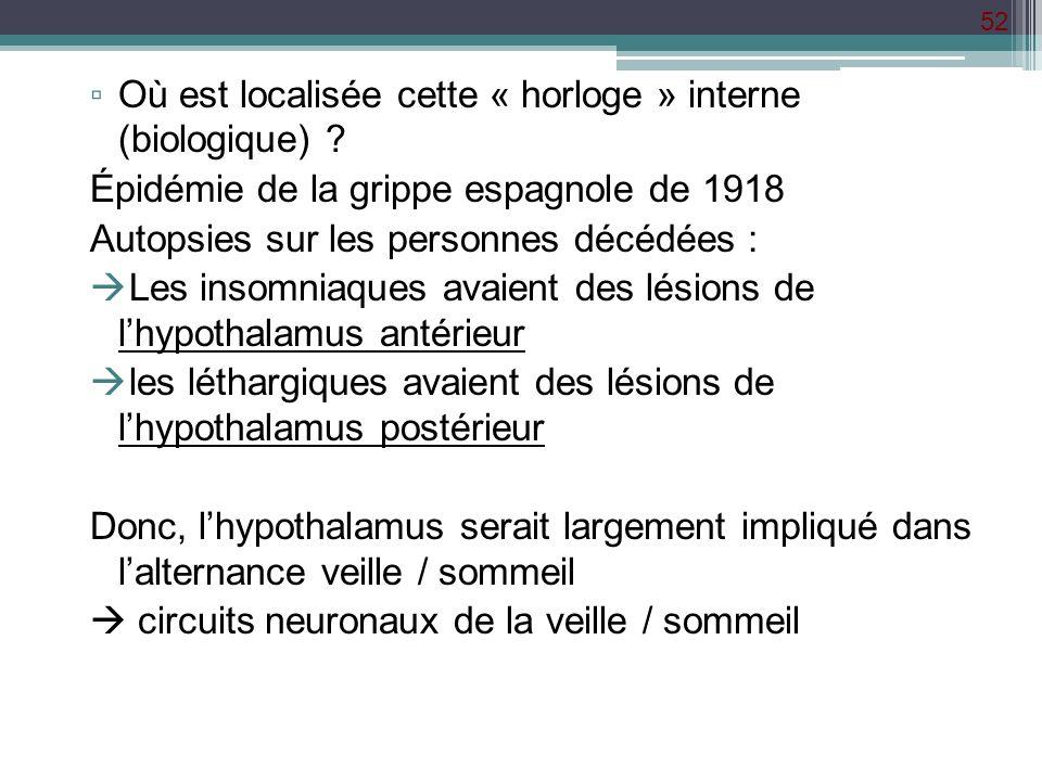 52 Où est localisée cette « horloge » interne (biologique) ? Épidémie de la grippe espagnole de 1918 Autopsies sur les personnes décédées : Les insomn