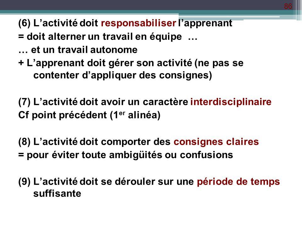 86 (6) Lactivité doit responsabiliser lapprenant = doit alterner un travail en équipe … … et un travail autonome + Lapprenant doit gérer son activité