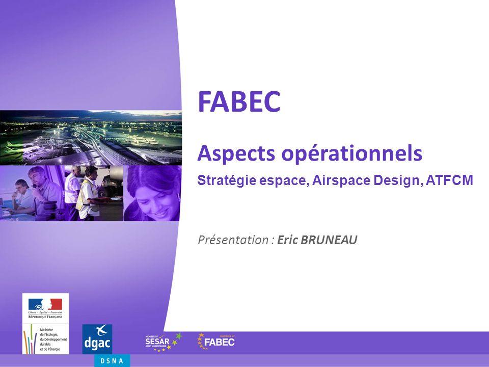 Stratégie Espace FABEC « Déclaration du Matterhorn » Stratégie FABEC = 3 volumes (Free Route, volume de transition, réseau fixe) + « big five » 4 projets espace : South-East (Skyguide) West (Belgocontrol) Lux (DFS) CBA Land/Central West (LVNL) 3 nouveaux programmes : Free Route Airspace (DSNA ) XMAN (DFS) = PMS TE Paris (DSNA) + FAIRSTREAM (DSNA) + XMAN/AMAN (DFS) ATFCM/ASM (DSNA)