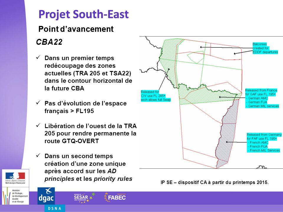 Projet South-East Point davancement Projet South-East Point davancement Calendrier Courant 2013 - Simulation RTS Reims et MUAC du dispositif SWAP final - Etudes de sécurité Etape 1 – Début 2014 - SWAP avec CDR sur laxe GTQ-OVERT-PITES hors activité TRA 205 - Nouvelles SIDs/STARs Genève Etape 2 – Printemps 2015 - TSA22 modifiée + TRA 205 (selon limites latérales CBA 22) - PDR à statut permanent GTQ-OVERT-XXXXX.