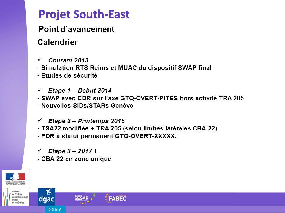 Projet South-East Difficultés Projet South-East Difficultés SWAP Performance visée pour chaque centre concerné Ressources humaines et techniques (CIV et/ou MIL) CBA 22 Absence dharmonisation FUA 2 et 3 Aspects institutionnels et légaux (CBA22 et CBA25) Aspects environnementaux (survols vallée du Rhin)