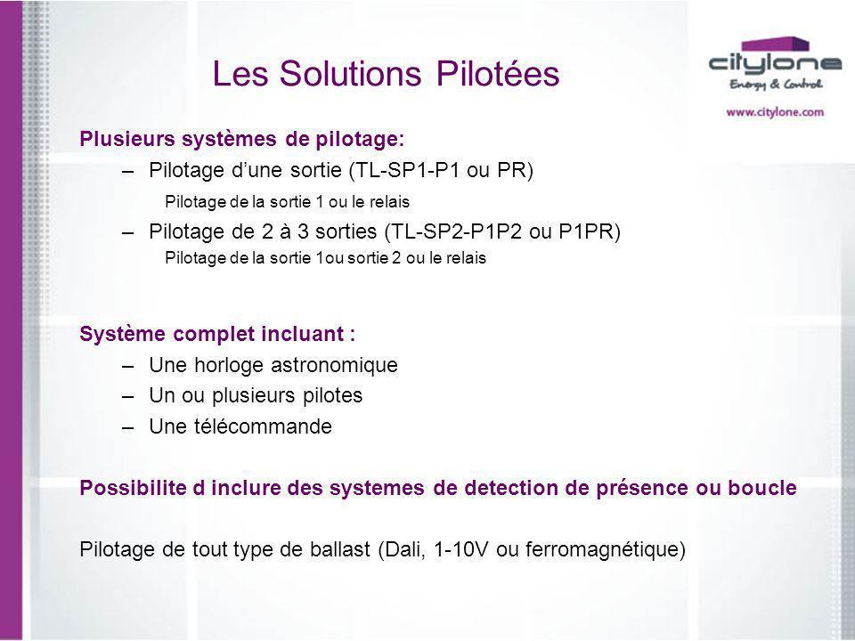 Les Solutions Pilotées Plusieurs systèmes de pilotage: –Pilotage dune sortie (TL-SP1-P1 ou PR) Pilotage de la sortie 1 ou le relais –Pilotage de 2 à 3
