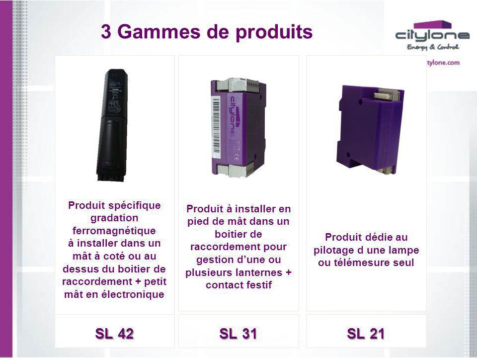 3 Gammes de produits Produit spécifique gradation ferromagnétique à installer dans un mât à coté ou au dessus du boitier de raccordement + petit mât e