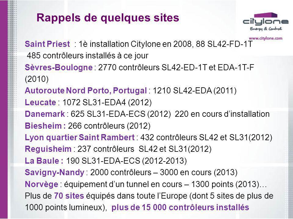 Rappels de quelques sites Saint Priest : 1è installation Citylone en 2008, 88 SL42-FD-1T 485 contrôleurs installés à ce jour Sèvres-Boulogne : 2770 co
