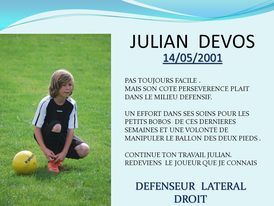PIERRE DEFORT 06/03/2001 ATTAQUANT DE POINTE TRES BONNE TECHNIQUE, VIVACITE, MANQUE DE CONTRÔLE EN COURSE.