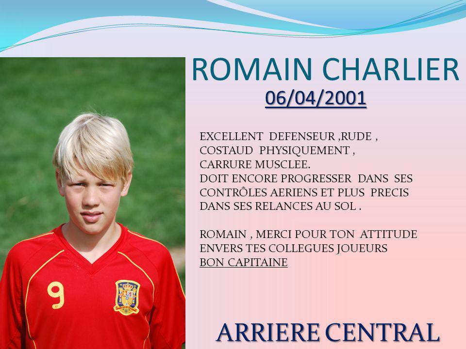 ROMAIN CHARLIER EXCELLENT DEFENSEUR,RUDE, COSTAUD PHYSIQUEMENT, CARRURE MUSCLEE. DOIT ENCORE PROGRESSER DANS SES CONTRÔLES AERIENS ET PLUS PRECIS DANS
