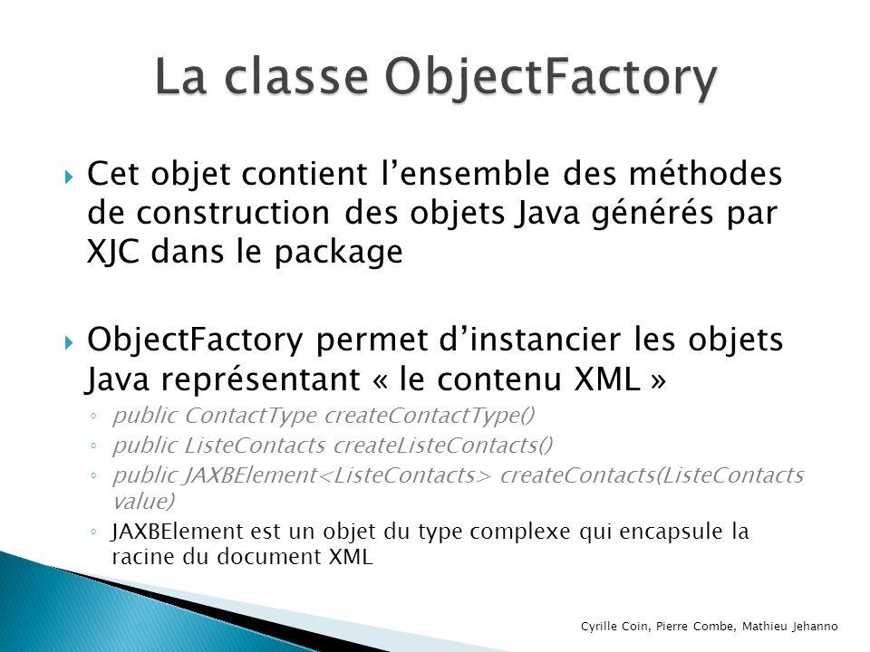 Cet objet contient lensemble des méthodes de construction des objets Java générés par XJC dans le package ObjectFactory permet dinstancier les objets