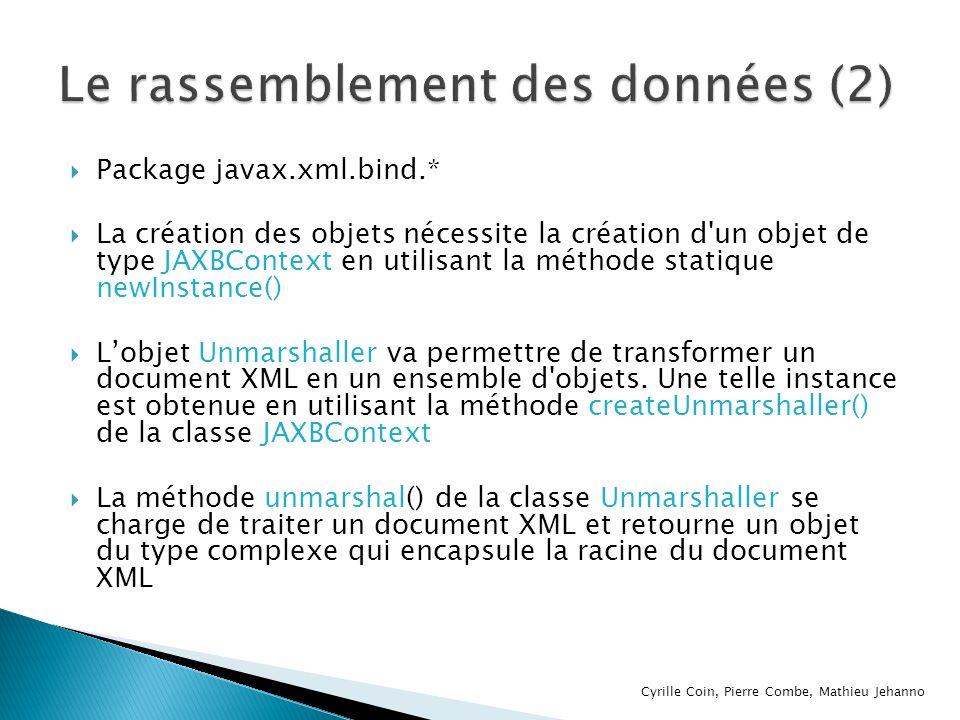 Package javax.xml.bind.* La création des objets nécessite la création d'un objet de type JAXBContext en utilisant la méthode statique newInstance() Lo