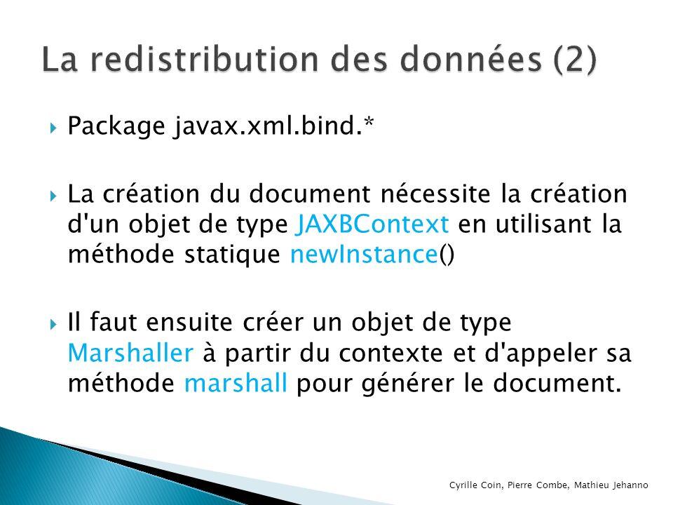 Package javax.xml.bind.* La création du document nécessite la création d'un objet de type JAXBContext en utilisant la méthode statique newInstance() I