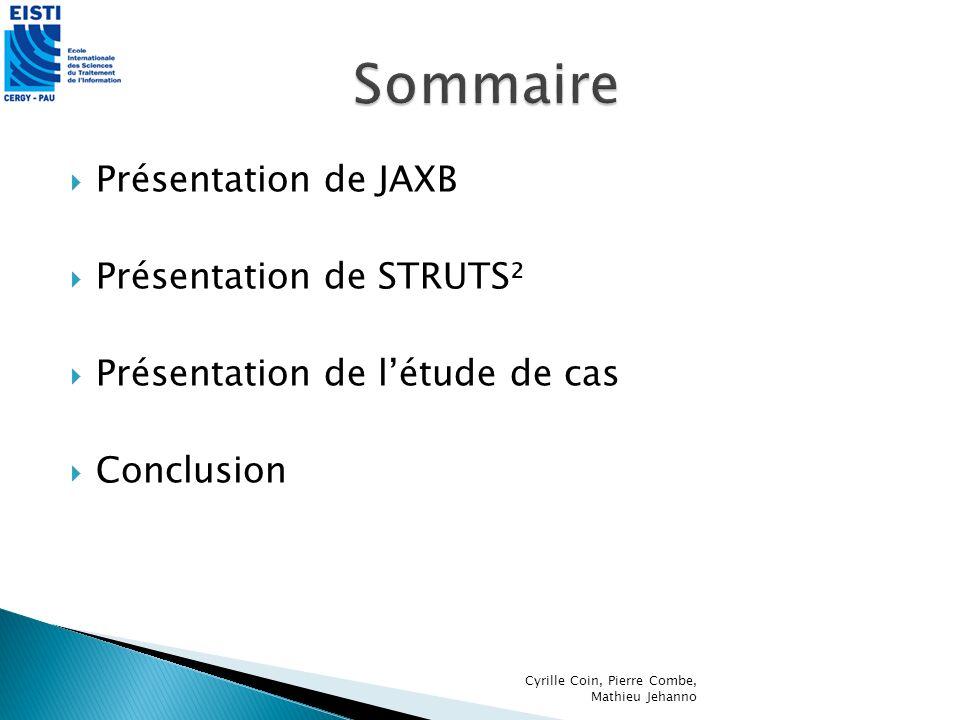 Facilite lutilisation du compilateur XJC Installation Site web : https://jaxb- workshop.dev.java.net/plugins/eclipse/xjc- plugin.htmlhttps://jaxb- workshop.dev.java.net/plugins/eclipse/xjc- plugin.html Copier le répertoire dans le répertoire plugins dEclipse Redémarrer Eclipse Cyrille Coin, Pierre Combe, Mathieu Jehanno