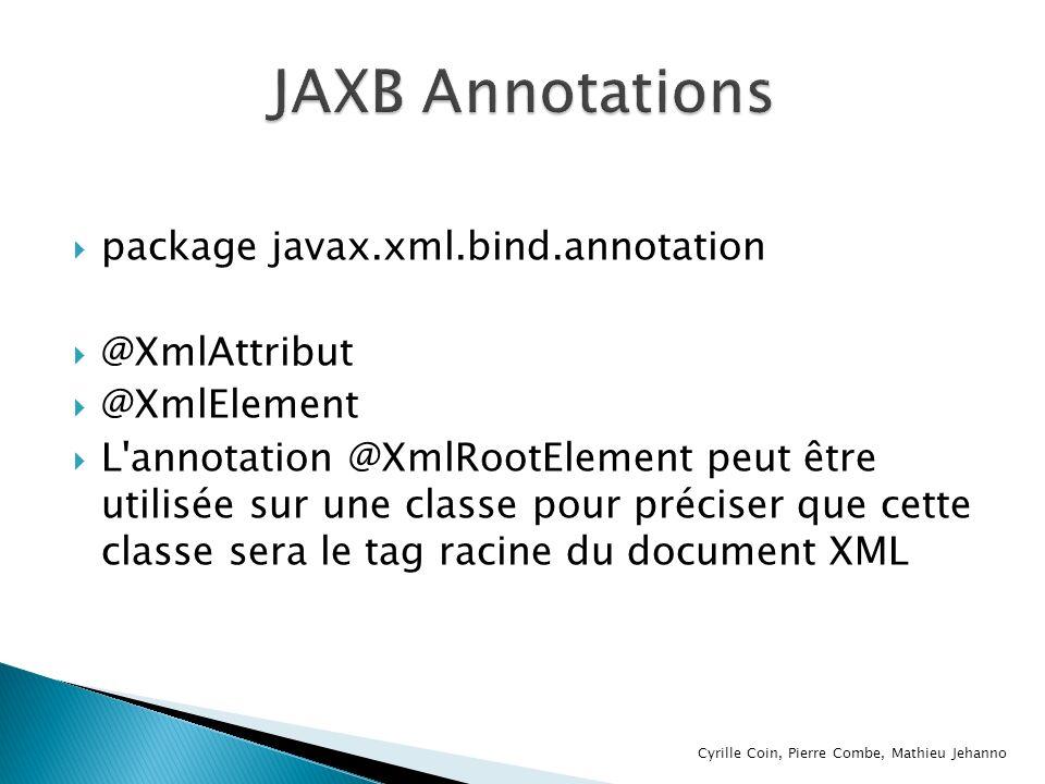package javax.xml.bind.annotation @XmlAttribut @XmlElement L'annotation @XmlRootElement peut être utilisée sur une classe pour préciser que cette clas