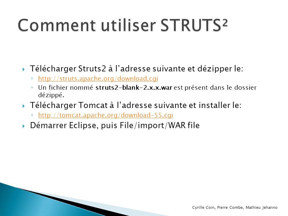 Télécharger Struts2 à ladresse suivante et dézipper le: http://struts.apache.org/download.cgi Un fichier nommé struts2-blank-2.x.x.war est présent dan