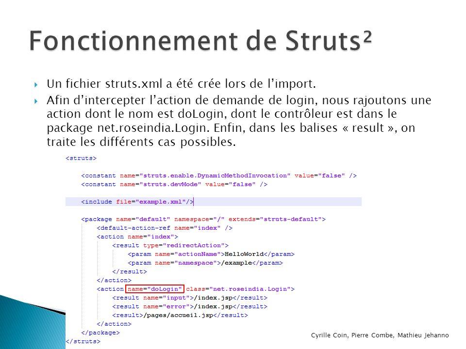Un fichier struts.xml a été crée lors de limport. Afin dintercepter laction de demande de login, nous rajoutons une action dont le nom est doLogin, do