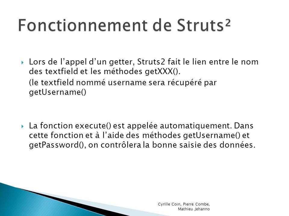 Lors de lappel dun getter, Struts2 fait le lien entre le nom des textfield et les méthodes getXXX(). (le textfield nommé username sera récupéré par ge
