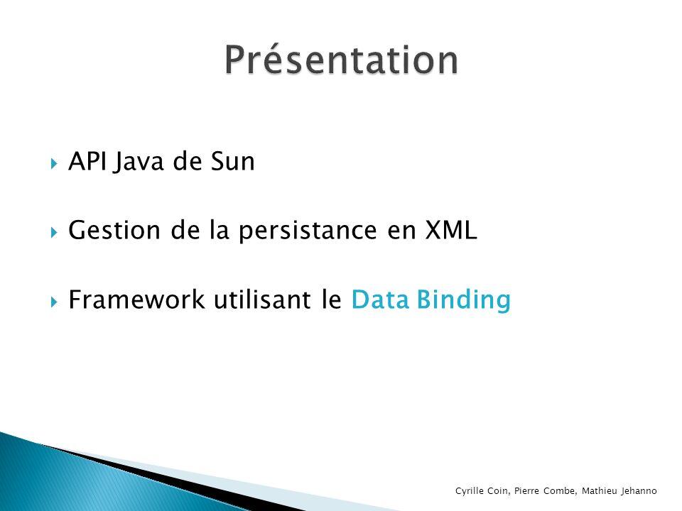 Le Data Binding est une technologie permettant d automatiser la transformation d un modèle de données en un modèle de données objets dans un langage de programmation JAXB permet de convertir les fichiers XML en instances de classes Java Cyrille Coin, Pierre Combe, Mathieu Jehanno