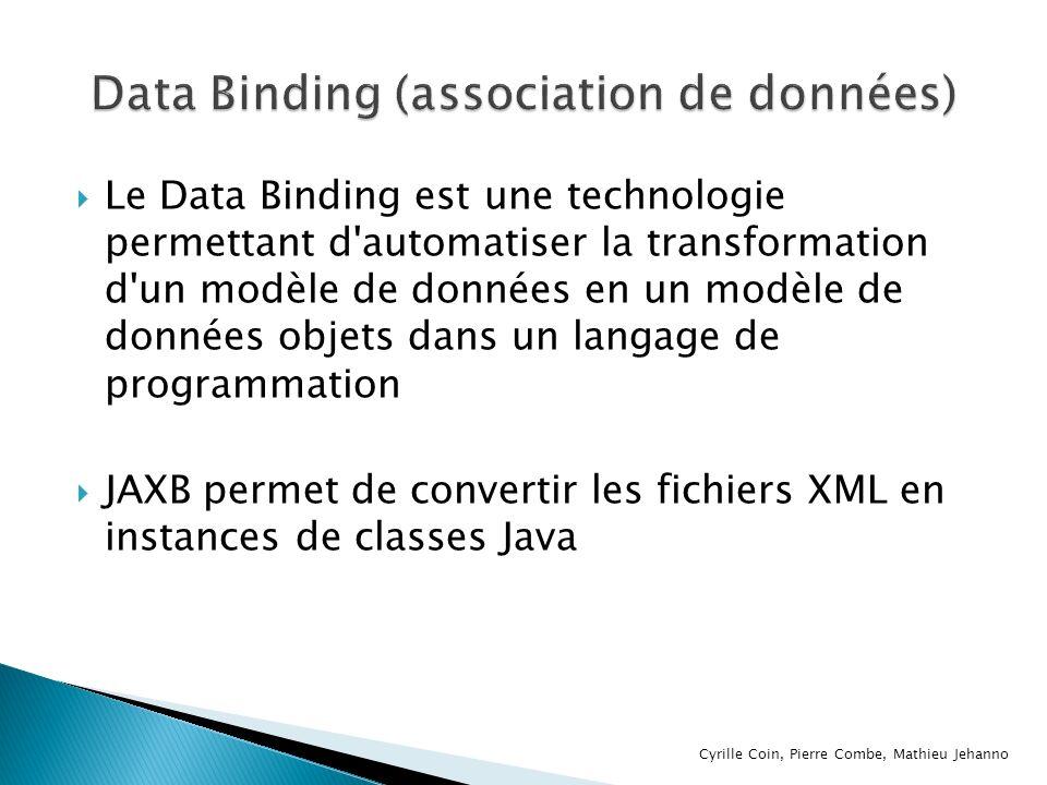 L utilisation de JAXB implique trois étapes : La génération de classes à partir du schéma XML Le rassemblement des données La redistribution des données Cyrille Coin, Pierre Combe, Mathieu Jehanno