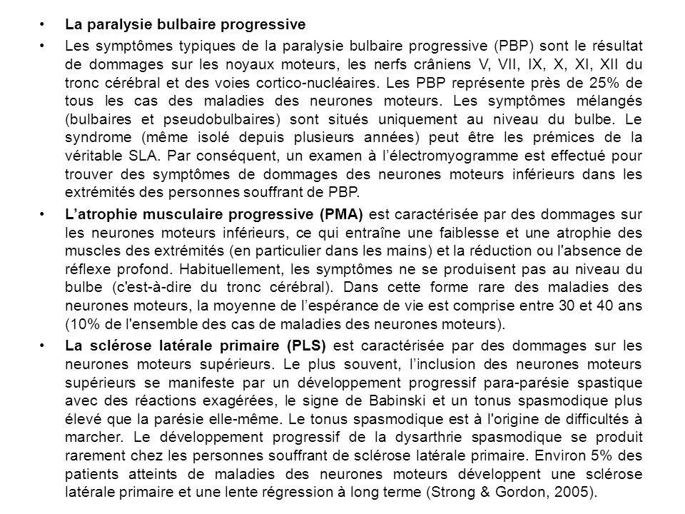 La paralysie bulbaire progressive Les symptômes typiques de la paralysie bulbaire progressive (PBP) sont le résultat de dommages sur les noyaux moteurs, les nerfs crâniens V, VII, IX, X, XI, XII du tronc cérébral et des voies cortico-nucléaires.