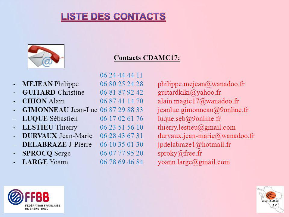 24 Contacts CDAMC17: 06 24 44 44 11 -MEJEAN Philippe06 80 25 24 28philippe.mejean@wanadoo.fr -GUITARD Christine06 81 87 92 42guitardkiki@yahoo.fr -CHI