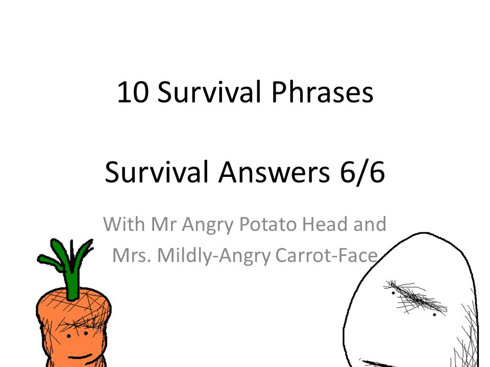 10 Survival Phrases Survival Answers 6/6 With Mr Angry Potato Head and Mrs.