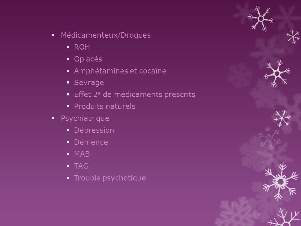 Médicamenteux/Drogues ROH Opiacés Amphétamines et cocaïne Sevrage Effet 2 e de médicaments prescrits Produits naturels Psychiatrique Dépression Démenc