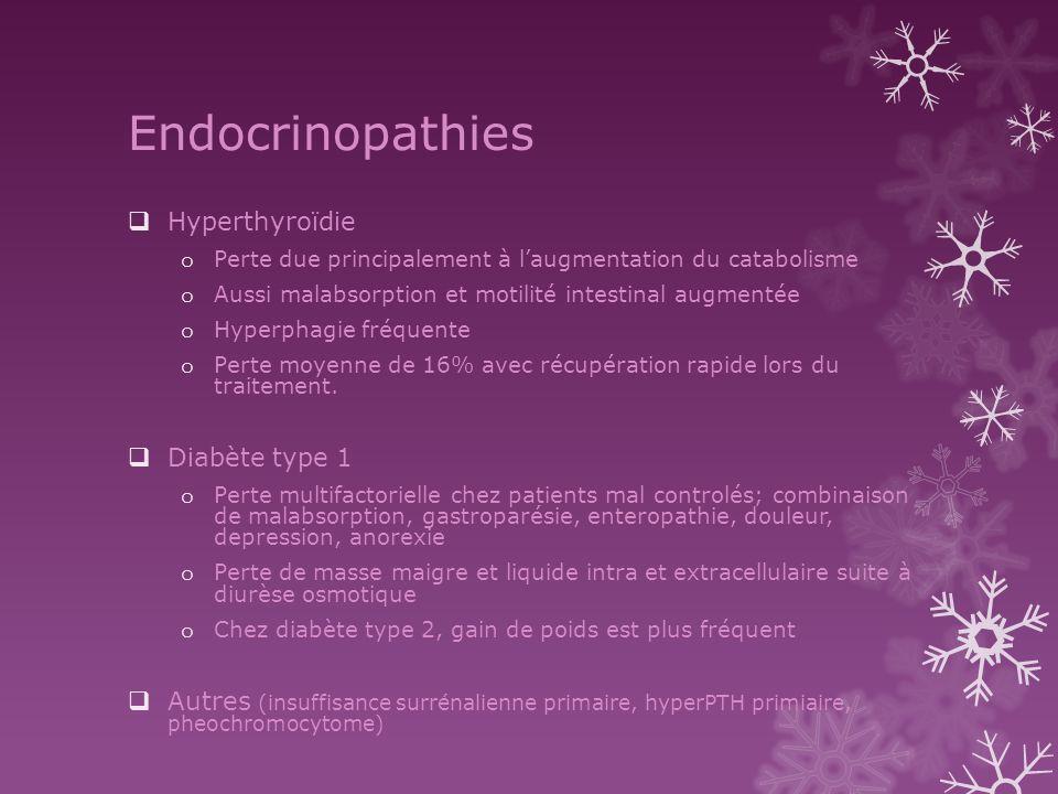 Endocrinopathies Hyperthyroïdie o Perte due principalement à laugmentation du catabolisme o Aussi malabsorption et motilité intestinal augmentée o Hyp