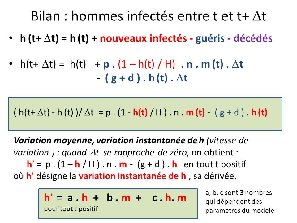 h (t+ t) = h (t) + nouveaux infectés - guéris - décédés h(t+ t) = h(t) + p. (1 – h(t) / H). n. m (t). t - ( g + d ). h (t). t Bilan : hommes infectés