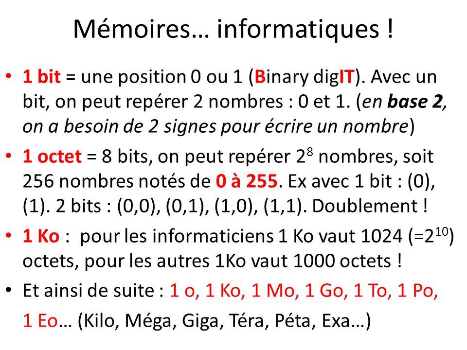 Mémoires… informatiques ! 1 bit = une position 0 ou 1 (Binary digIT). Avec un bit, on peut repérer 2 nombres : 0 et 1. (en base 2, on a besoin de 2 si