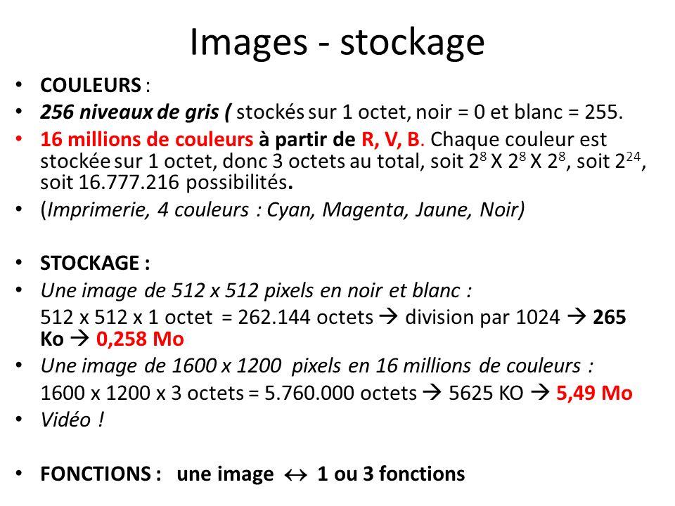 Images - stockage COULEURS : 256 niveaux de gris ( stockés sur 1 octet, noir = 0 et blanc = 255. 16 millions de couleurs à partir de R, V, B. Chaque c