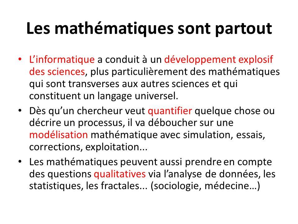 Les mathématiques sont partout Linformatique a conduit à un développement explosif des sciences, plus particulièrement des mathématiques qui sont tran