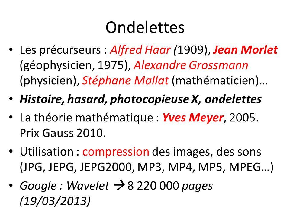 Ondelettes Les précurseurs : Alfred Haar (1909), Jean Morlet (géophysicien, 1975), Alexandre Grossmann (physicien), Stéphane Mallat (mathématicien)… H