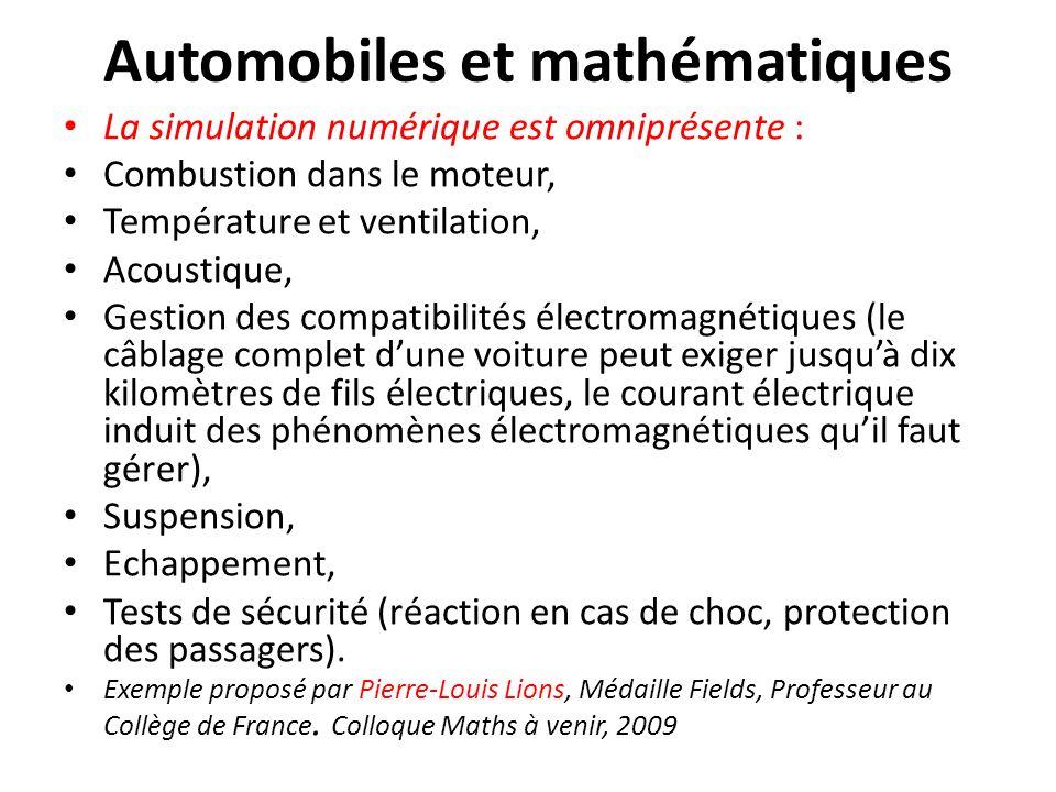 Automobiles et mathématiques La simulation numérique est omniprésente : Combustion dans le moteur, Température et ventilation, Acoustique, Gestion des