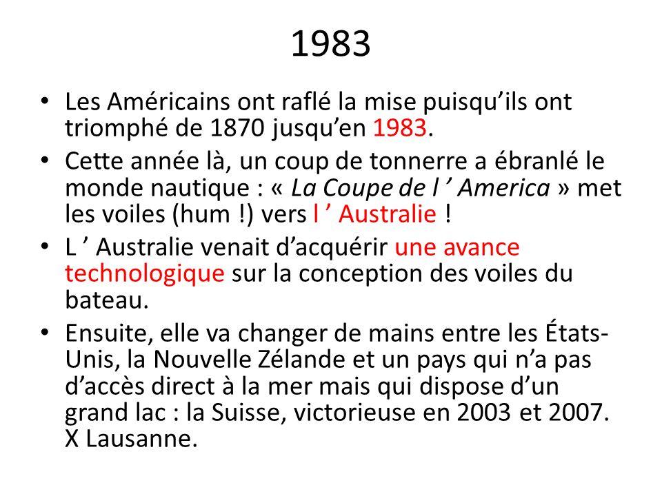 1983 Les Américains ont raflé la mise puisquils ont triomphé de 1870 jusquen 1983. Cette année là, un coup de tonnerre a ébranlé le monde nautique : «