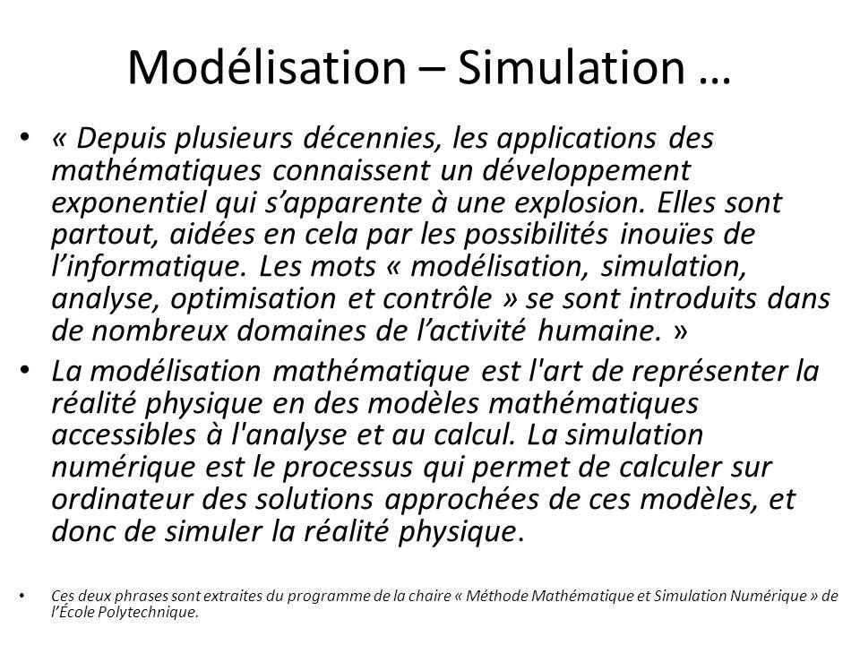 Modélisation – Simulation … « Depuis plusieurs décennies, les applications des mathématiques connaissent un développement exponentiel qui sapparente à