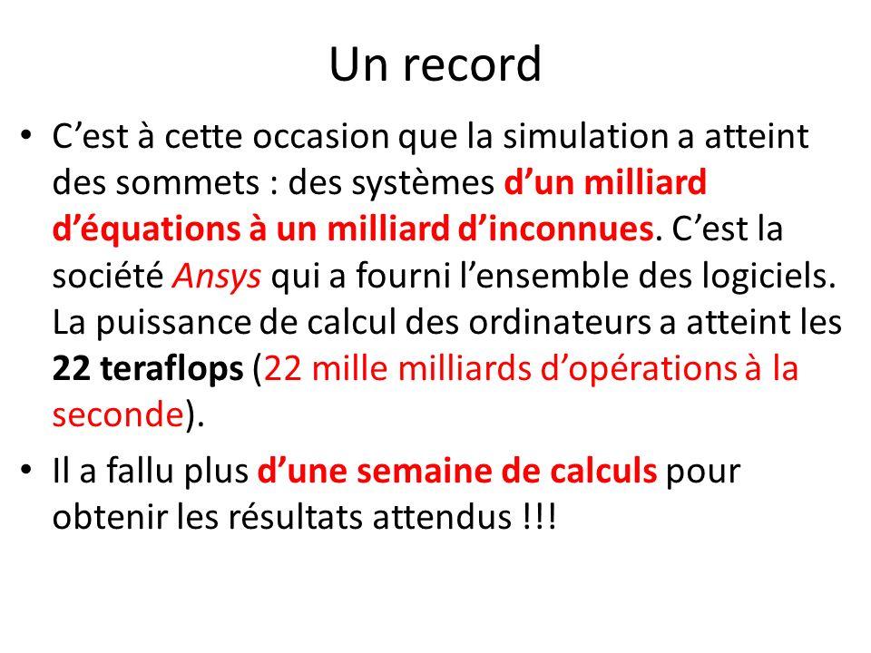 Un record Cest à cette occasion que la simulation a atteint des sommets : des systèmes dun milliard déquations à un milliard dinconnues. Cest la socié