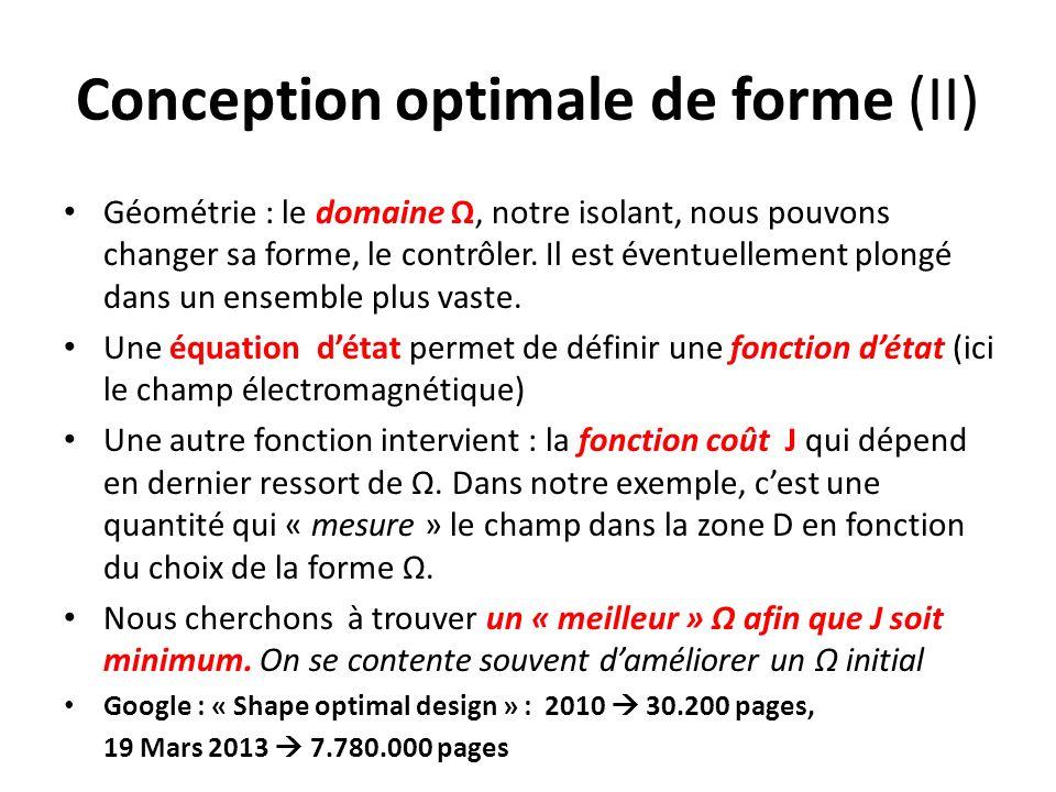 Conception optimale de forme (II) Géométrie : le domaine Ω, notre isolant, nous pouvons changer sa forme, le contrôler. Il est éventuellement plongé d