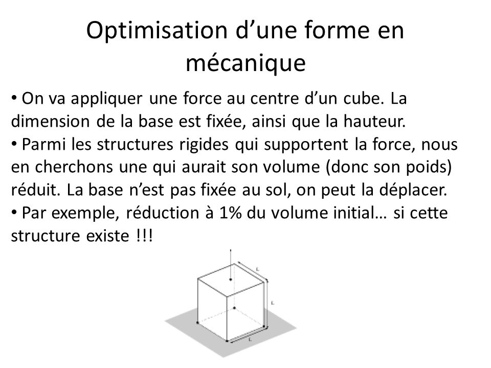 Optimisation dune forme en mécanique On va appliquer une force au centre dun cube. La dimension de la base est fixée, ainsi que la hauteur. Parmi les