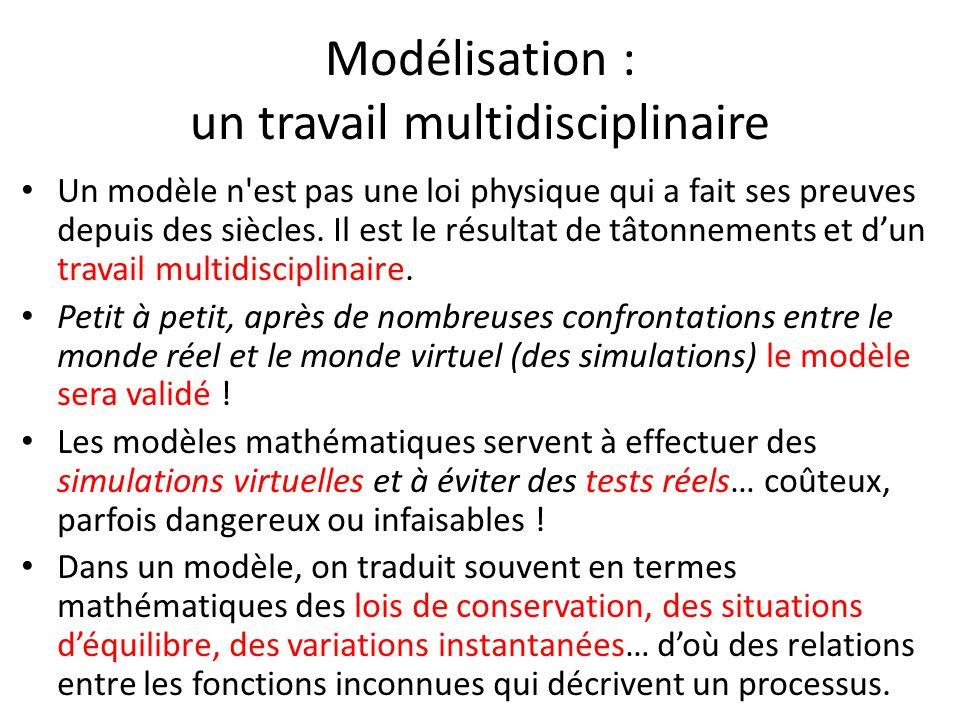 Modélisation : un travail multidisciplinaire Un modèle n'est pas une loi physique qui a fait ses preuves depuis des siècles. Il est le résultat de tât