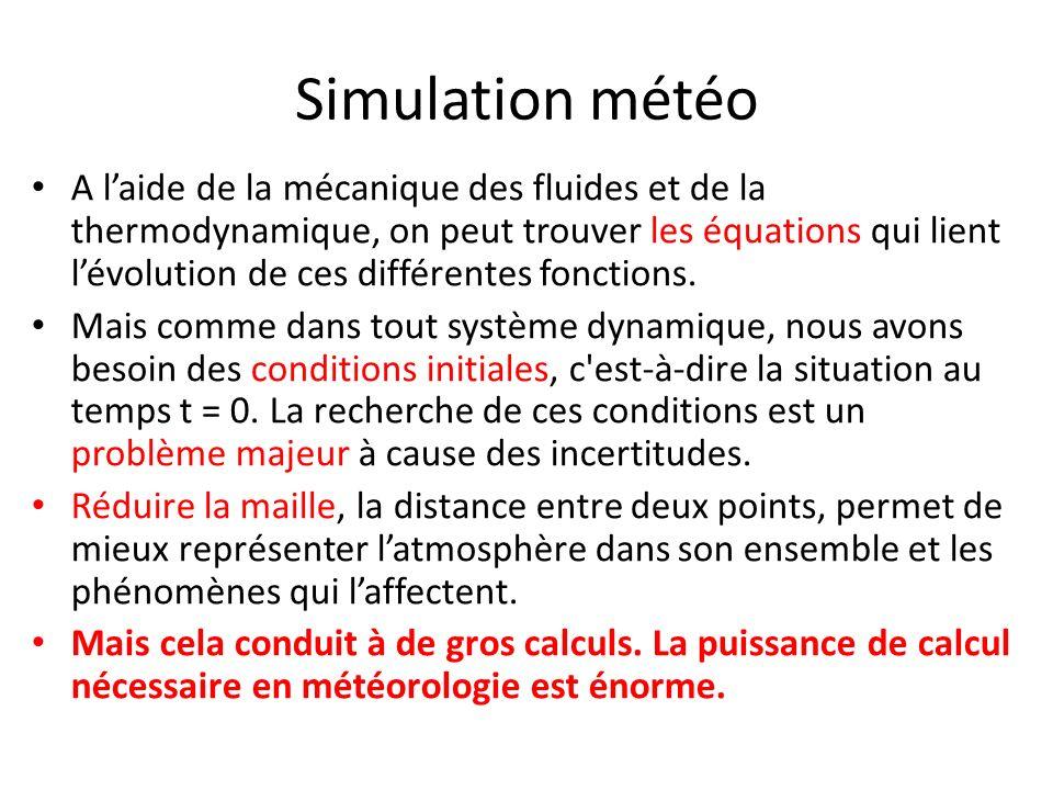 Simulation météo A laide de la mécanique des fluides et de la thermodynamique, on peut trouver les équations qui lient lévolution de ces différentes f