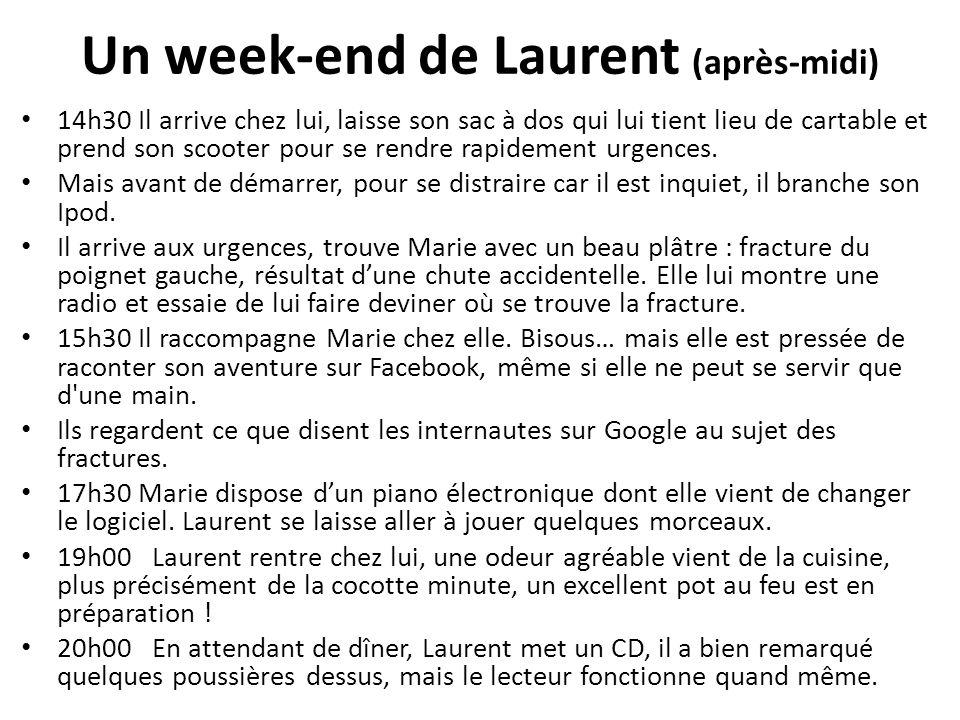 Un week-end de Laurent (après-midi) 14h30 Il arrive chez lui, laisse son sac à dos qui lui tient lieu de cartable et prend son scooter pour se rendre
