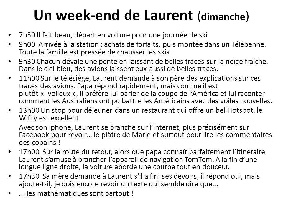 Un week-end de Laurent ( dimanche ) 7h30 Il fait beau, départ en voiture pour une journée de ski. 9h00 Arrivée à la station : achats de forfaits, puis