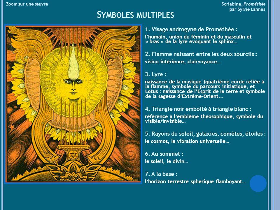 Zoom sur une œuvre Scriabine, Prométhée par Sylvie Lannes S YMBOLES MULTIPLES 1. Visage androgyne de Prométhée : lhumain, union du féminin et du mascu