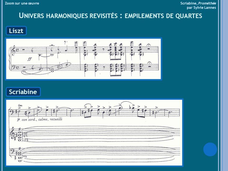 Zoom sur une œuvre Scriabine, Prométhée par Sylvie Lannes U NIVERS HARMONIQUES REVISITÉS : EMPILEMENTS DE QUARTES Liszt Scriabine